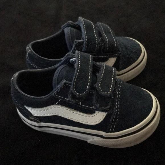 f8bdc51935785 Baby toddler Vans Size 4 Navy Blue Velcro straps. M_5b60cb8f10fc54d5d08450be
